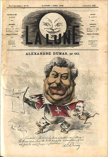 Caricature by André Gill Caricature of Alexandre Dumas Cover of La Lune 2 December 1866 Hand-colored Engraving [X]